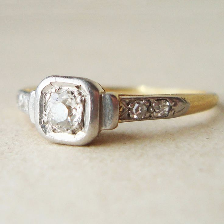 Antique+Old+Cut+Diamond+Ring+Art+Deco+Diamond+by+luxedeluxe,+$298.00