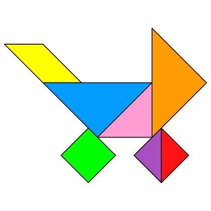 Tangram Pram - Tangram solution #140 - Providing teachers and pupils with tangram puzzle activities