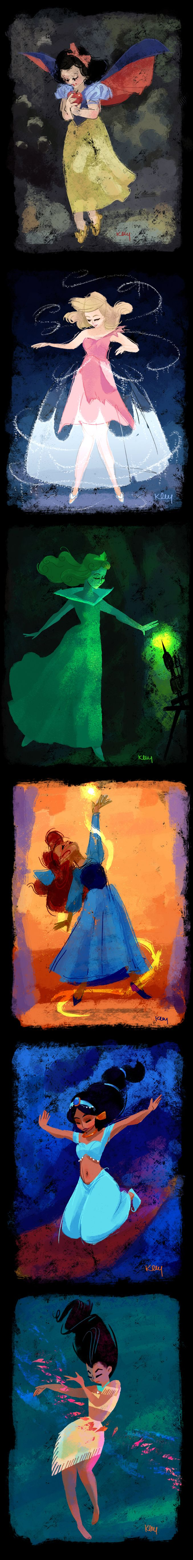 Disney Princess paintings created by resident Disney artist Katia Oloy.
