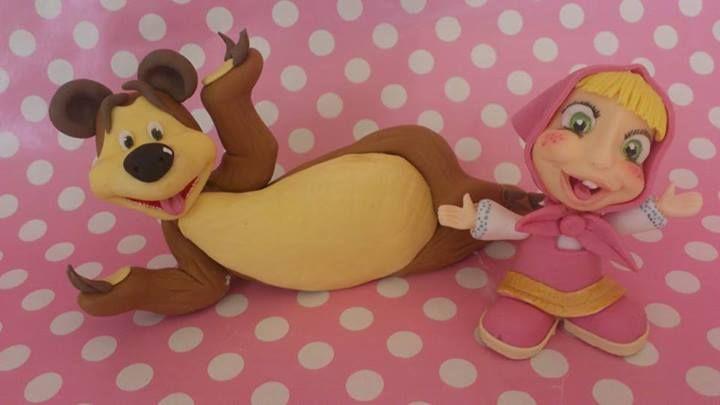 Gum paste figurines, Masha ,bear