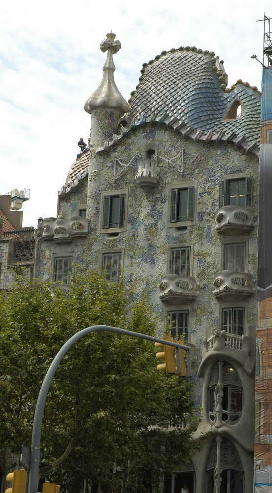 Exterior view of facade.(Antoni Gaudi)**. Our favorite part of Barcelona was the Gaudi archtecture.