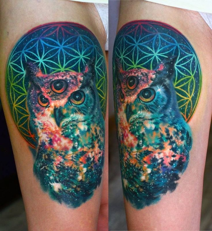 nika samarina makes some trippy space tattoos here a sacred geometry cosmic owl tattoos. Black Bedroom Furniture Sets. Home Design Ideas