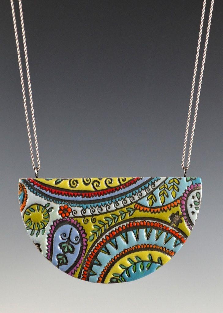 For your fashionista friend: Ceramic Paisley Pendant Necklace / Cavatica Designs