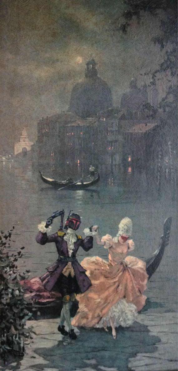Limited Edition Print - Shore Leave II, Boba Fett Star Wars Painting - Repurposed Thrift Art.