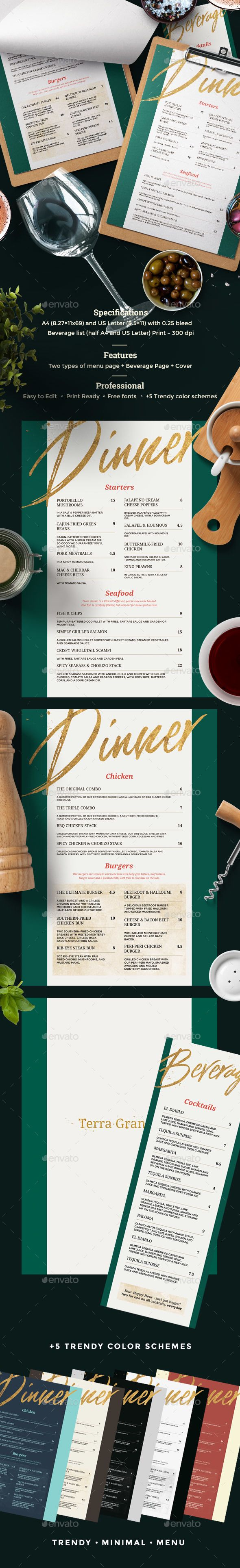 Restaurant Menu — Photoshop PSD #cocktail #flyer • Available here ➝ https://graphicriver.net/item/restaurant-menu/20824287?ref=pxcr