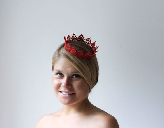 Red Princess Fairy Tale Lace Crown  queen by neesiedesigns on Etsy, $12.00