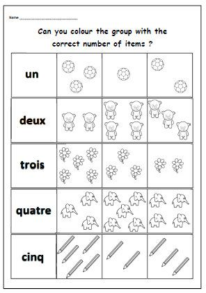FRENCH Number WORKSHEET With Counting and Colouring Activity.