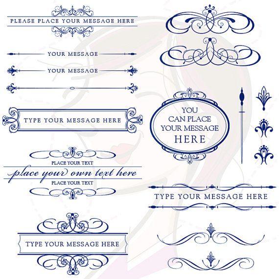 Line Art Wedding Clip Art Clipart Calligraphy Vintage NAVY BLUE Design Elements Invitation Scrapbook Text Dividers Oval Digital Frame 10236