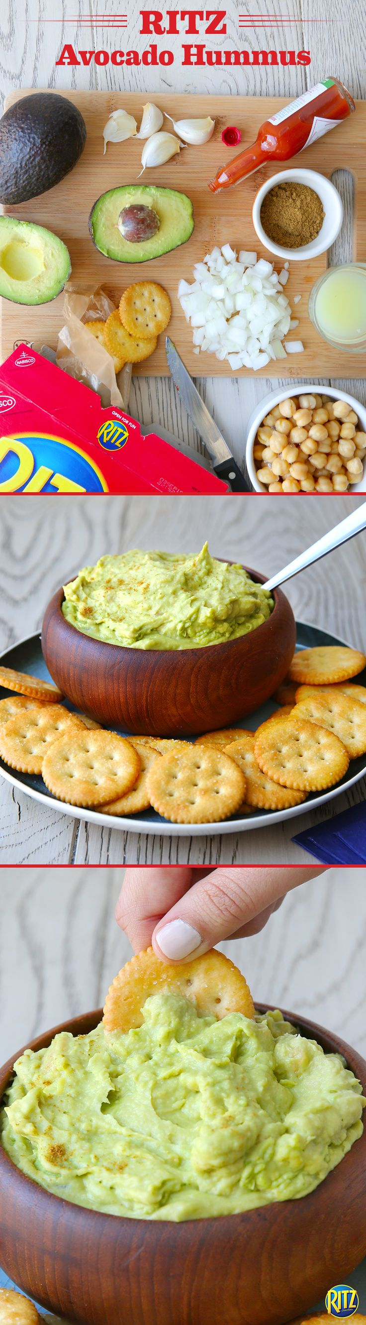 This RITZ cracker Avocado Hummus is an easy summertime dip. Combine avocados, chickpeas, chopped onion, garlic, lemon juice, hot pepper sauce, and cumin in a blender, mixing until smooth. Refrigerate for about one hour before serving and enjoy!