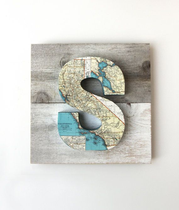 Vintage Map Letter S on Reclaimed Wood by FleaMarketSunday, $40.00  www.etsy.com/shop/FleaMarketSunday