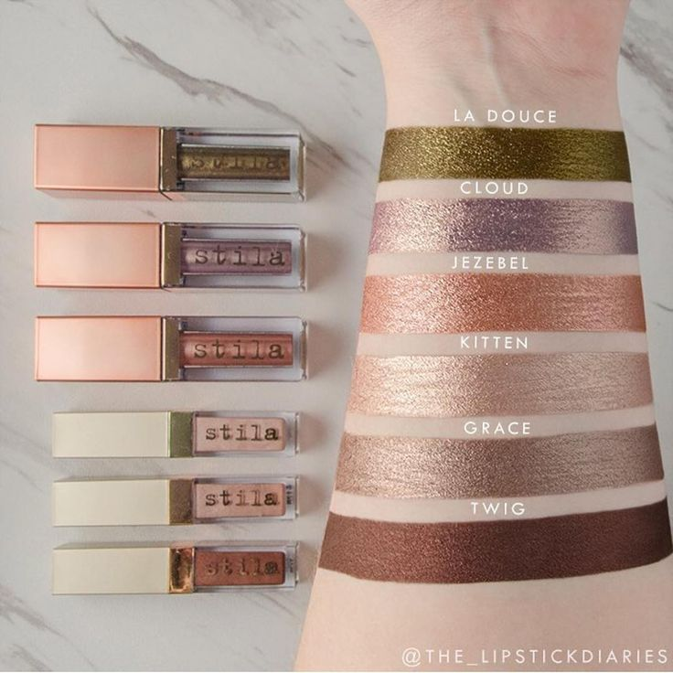 trendmood1 #SWATCHES   @stilacosmetics ✨✨  Shimmer & Glow Liquid Eyeshadow 8 SHADES $24 Each NEW Formula!!.  rich, beautiful color with a high shimmer sheen, minus the glitter! :  Kitten (shimmering vibrant nude pink)  Grace (shimmering rosey taupe)  Twig (simmering warm chestnut brown)  Jezebel (shimmering rose gold)  Starlight (shimmering light gold champagne)  Cloud (shimmering lavender w/ gold pearl)  La Douce (shimmering warm gold green)  Pigalle (shimmering cool cranberry)