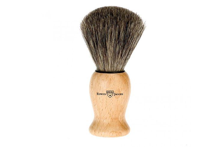 """""""Shaving brush, wooden handle, beech, medium, pure badger, lacquered by Edwin Jagger""""  #afeitadoclásico #afeitadotradicional #afeitado#brochadeafeitar #brocha #edwinjagger #johnscarestore #mengrooming #grooming #shaving"""