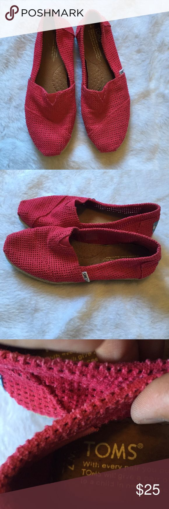 Red toms 🎀 red perforated toms 🎀 Gently used  🎀 size 7 runs little big would fit 7.5 🎀Please ask for additional pictures, measurements, or ask questions before purchase 🎀No trades or other apps. 🎀Ships next business day, unless otherwise noted in my closet 🎀Reasonable offers accepted  🎀Five star rating 🎀Bundle for discount TOMS Shoes
