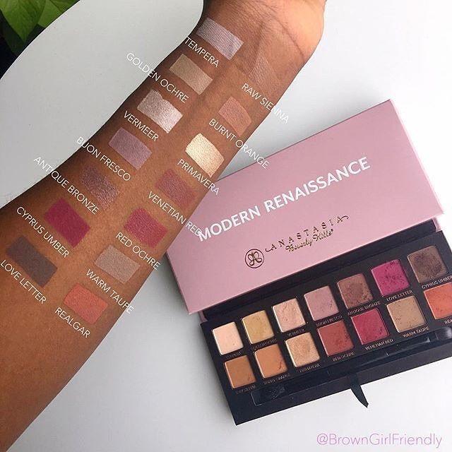Swatches Modern Renaissance palette  thank you @browngirlfriendly  #anastasiabeverlyhills #modernrenaissance