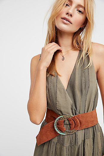 Suede Wrap Belt | American made statement suede wrap belt featuring a double metal belt buckle, with one hammered and one embellished with beautiful turquoise stones