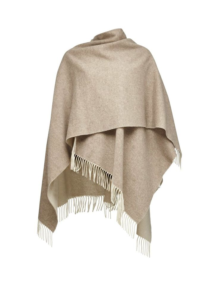 GUSTO PONCHO-Women's reversible poncho in wool. Plain colours with rolled fringing in main fabric. Size: 170 x 130 cm. Made in Italy