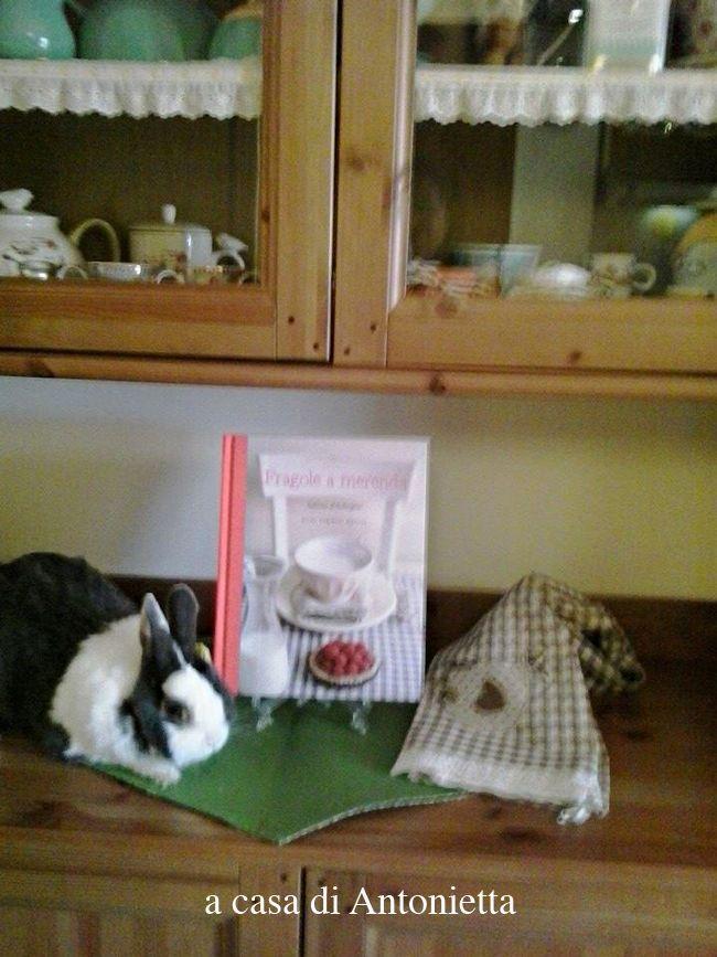 """In questa galleria ci sono foto di gatti, pesci rossi, e galline di ceramica: ma un coniglio mancava! Lei è Joelle, vanitosa quel tanto che basta a desiderare di passare alla storia come la prima coniglietta di un libro di ricette! Succede anche questo, se ci si porta a casa una copia di """"Fragole a merenda""""... #quifragoleamerenda"""