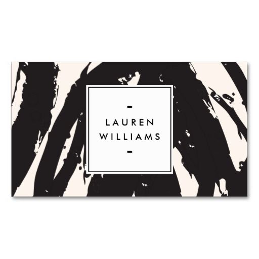 Fully Customizable Black and Light Pink Brushstrokes Designer Business Card Template - great for decorators, artists, fashion bloggers, stylists and more