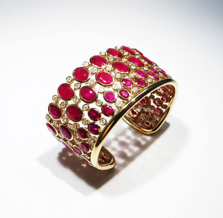 Ruby and Diamond cuff mounted on yellow gold