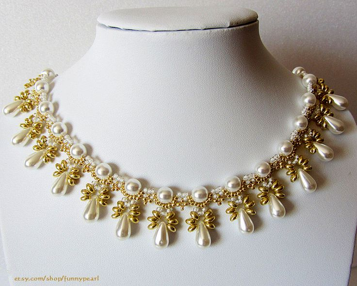 Free pattern for necklace Elettra by Lyubov Buntova ~ use silver and pearls