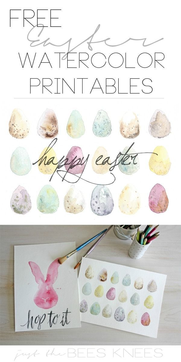 Super cute FREE watercolor printables for Easter! You can even use the egg print for a screensaver too!