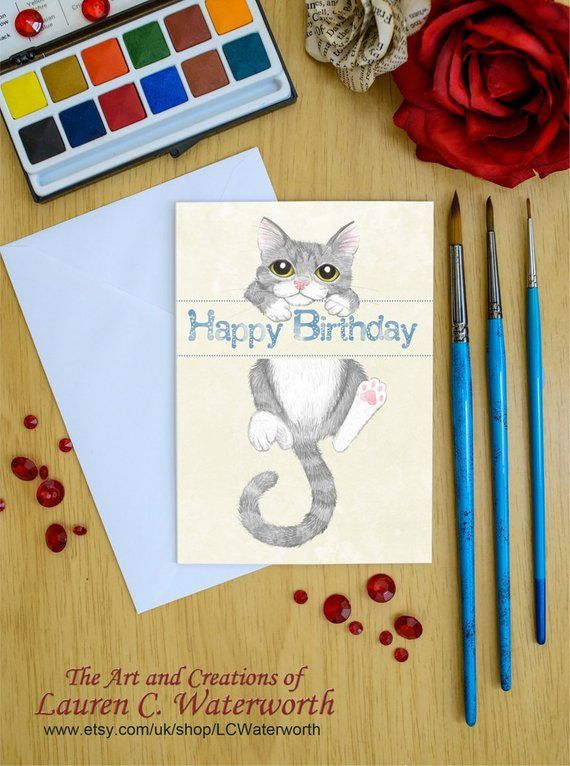 Grey Cat Birthday Card Lover Gift Cute Kitten Gray Kitty Silver Tabby For Daughter Greetings Wife Husband Son