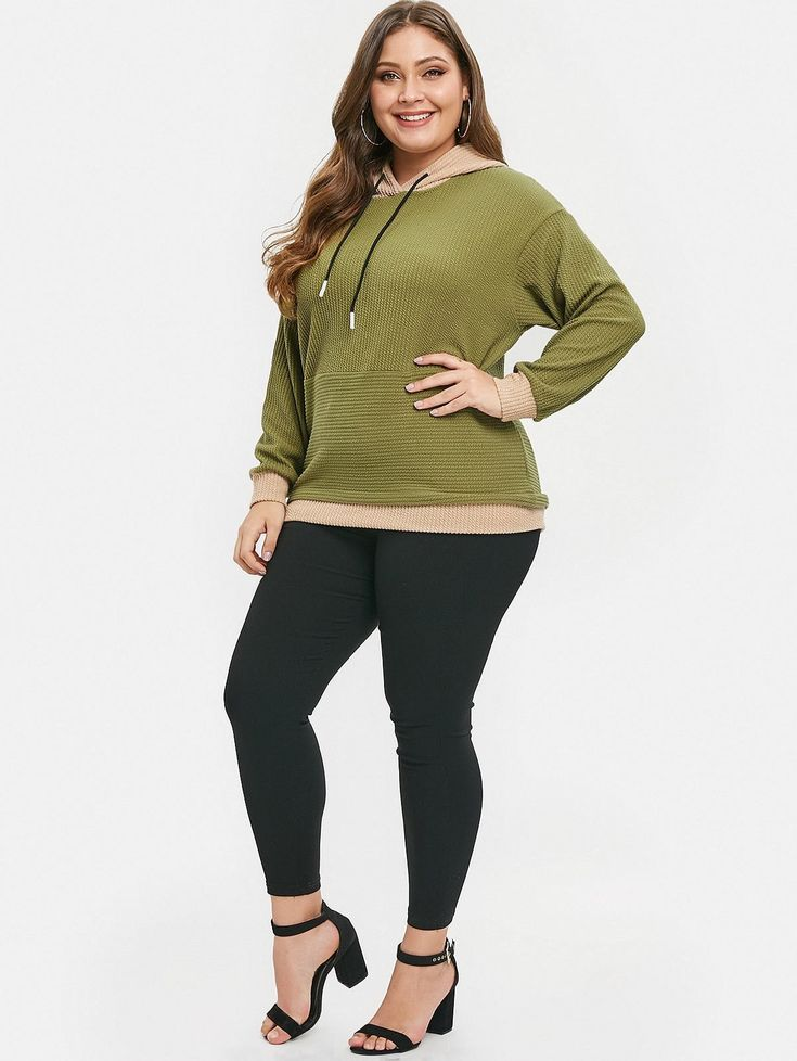 Plus Size Color Block Pullover Hoodie