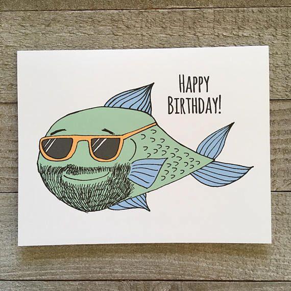 Happy Birthday Card Fisherman Birthday Bearded Man Card Male Birthday For Dad Father Uncle Husband Boyfriend Lover Hipster Fish Happy Birthday Man Happy Birthday Fisherman Happy Birthday Cards