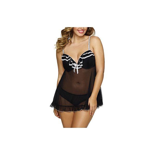 Jezebel 999895 Tiffany Plus Size Babydoll ($59) ❤ liked on Polyvore featuring plus size women's fashion, plus size clothing, plus size intimates, sleepwear, baby doll lingerie, sexy plus size lingerie, plus size underwire bras, plus size lingerie and jezebel lingerie