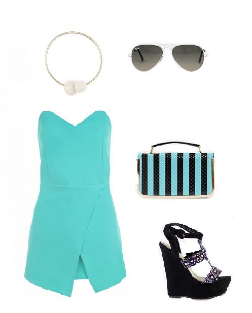 overalls, high wedge heel sandals, sunglases, turquoise style, accessories www.magazyn.modadamska.waw.pl
