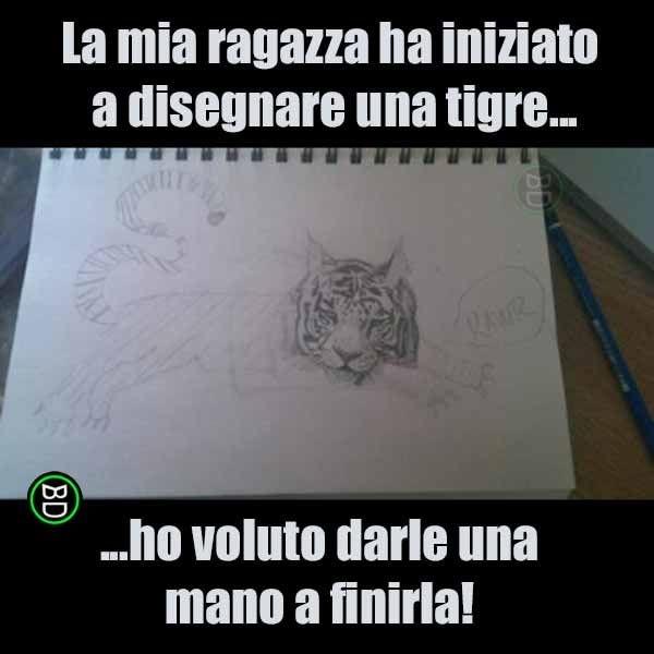 Sarà sicuramente contenta di questa...tecnica mista! #bastardidentro #tigre #disegno #arte