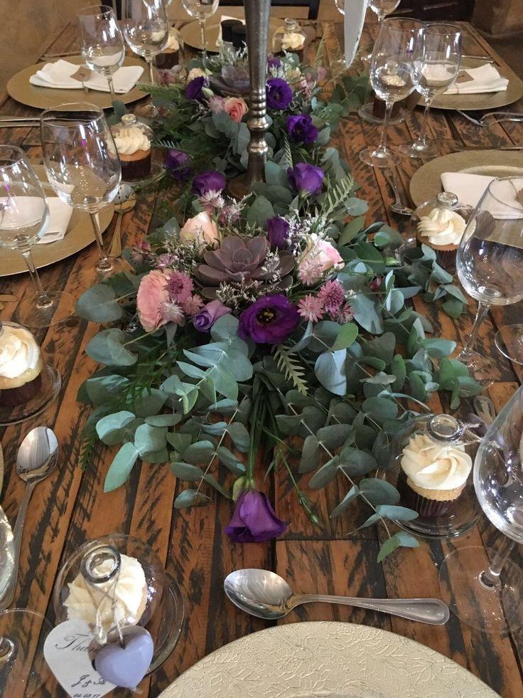 centerpiece with purple Rock rose