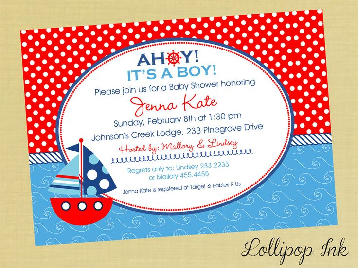 Baby Shower Invitations: Nautical Baby Shower Invitations Boat Red And Blue  Background Polkadot Wording In