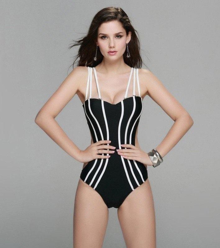 Angelsin Sik Beyaz Cizgili Siyah Mayokini Tek Parca Moda Stilleri Plaj Giyimi