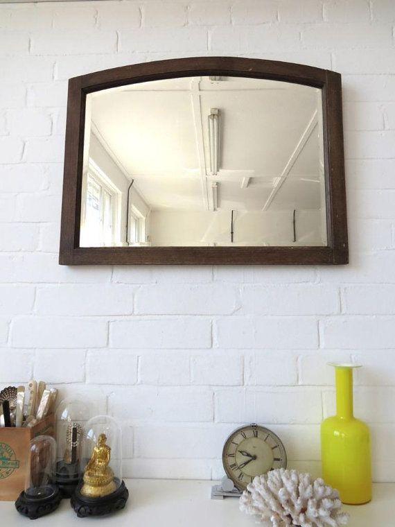 Vintage grand Art déco biseauté Edge mur miroir avec cadre en bois de chêne