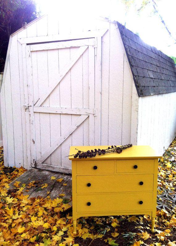 Shabby Chic Mustard Yellow Dresser. $150.00, via Etsy.