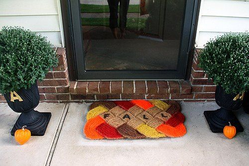 s 11 inviting welcome mats that will make your neighbors smile, crafts, outdoor furniture, porches, Paint a theme on a woven doormat