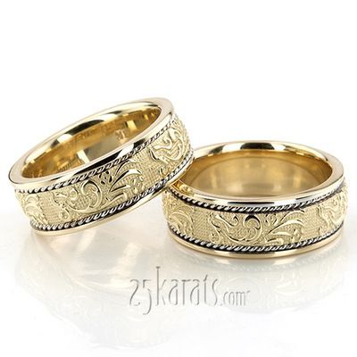 14K Gold Floral Carved Antique Wedding Band Set With a floral design center piece and braids on each side, this 8.5mm wide Antique wedding ring set is a classic bestseller! This wedding band is also available in 7.5, 9.5, 10.5mm. Center of the band is satin finished. Each side is high polished.
