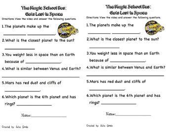 Solar System/Space Magic School Bus Lesson