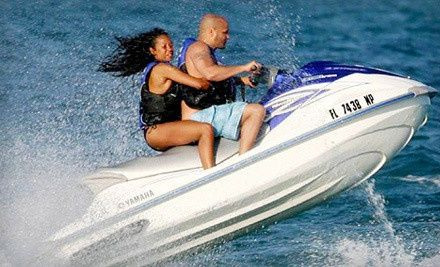 Groupon - $ 89 for One-Hour Jet-Ski Rental and Two All-Day Chaise-Lounge Rentals from Miami BeachSports in Miami Beach ($ 190 Value). Groupon deal price: $89.00