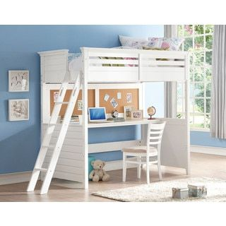 Shop for White Lacey Twin Loft Bed with Desk and Cork Board. Get free delivery at Overstock.com - Your Online Furniture Outlet Store! Get 5% in rewards with Club O!