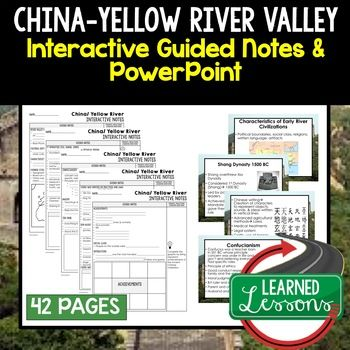 China, Yellow River Valley Civilization Guided Notes and PowerPoints, World History ➤World History Guided Notes, Interactive Notebook, Note Taking, PowerPoints, Anticipatory Guides These interactive guided notes and PowerPoints are great for