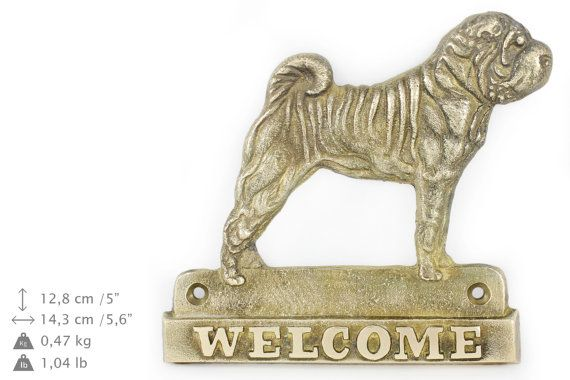 Shar Pei dog welcome hanging decoration by ArtDogshopcenter