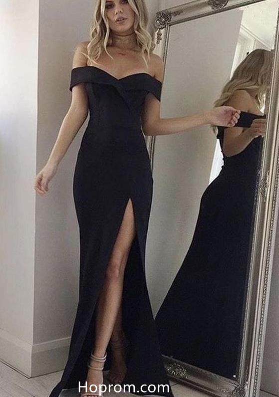 0e71910b52f Off Shoulder Black Prom Dresses Slit Evening Dresses in 2019 ...