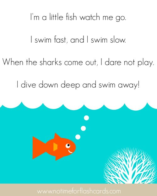 """Song, """"I'm a Little Fish"""" (Tune: """"I'm a Little Teapot""""; from No Time for Flash Cards)"""