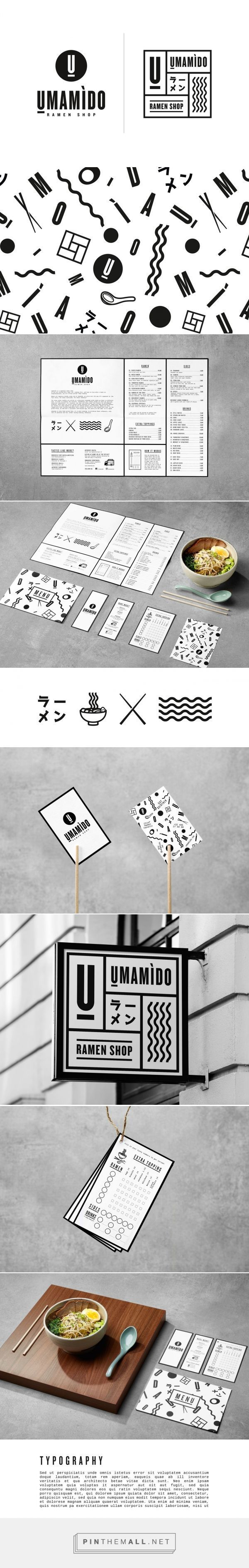 Antwerp and Brussels based Umamido serves traditional Japanese ramen noodles, but with a local accent. The visual identity was full revamped in keeping with the brand image: traditional Japanese themes in stark black & white come together with contemporary elements (like the Memphis-style pattern and iconography), resulting in a traditional visual language spiced up with playful twists. Umamido by Pinkeye Design Studio