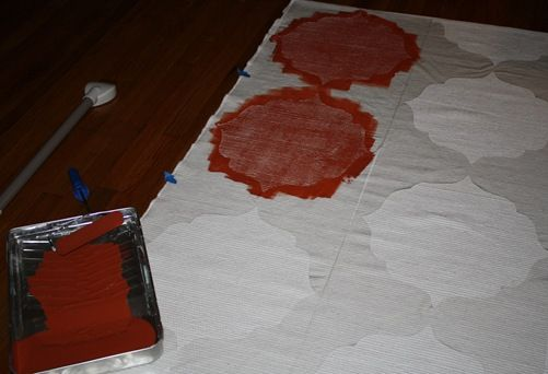 Use contact paper as a stencil for your DIY rug!