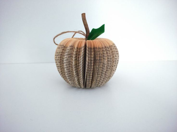 New to CreatonCrafts on Etsy: Christmas Tree Decoration - Gold Glitter - Book Art Apple Paper Fruit handmade (10.00 GBP)