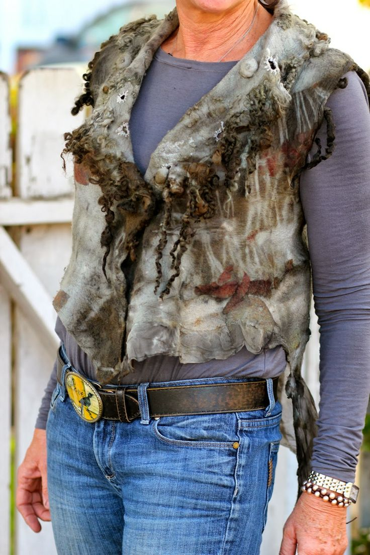 Studio 907: The Reveal - Eco Printed Vest with Teeswater long locks