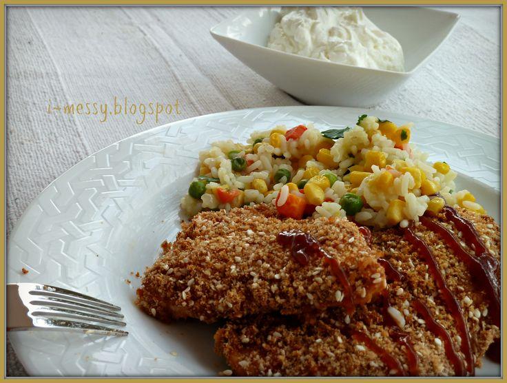 i-messy: Κοτόπουλο μπάρμπεκιου παναρισμένο με σουσάμι
